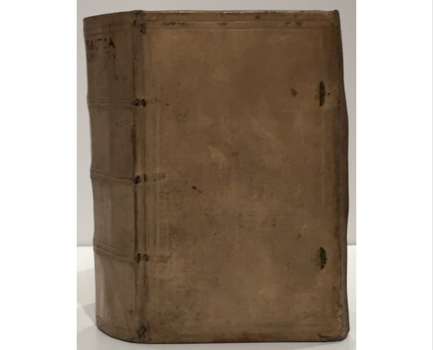Manuscript vellum from 1577 by Laurent Joubert. The image shows the cover.