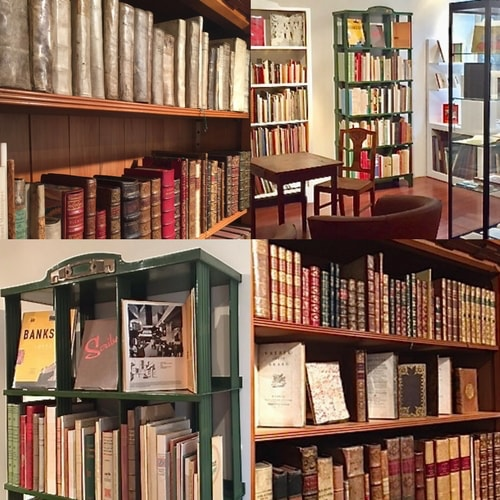 Montage of 4 pictures showing multiple shelves inside of the bookshop
