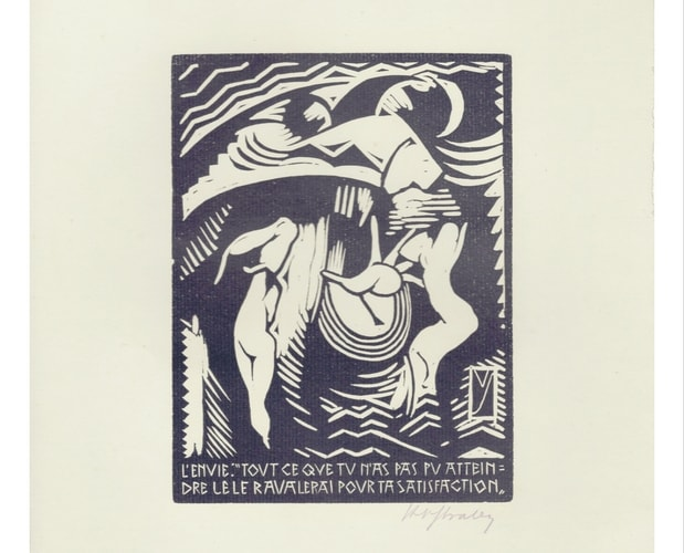 Linocut from the Temptation of St Anthony by Henry Van Straten