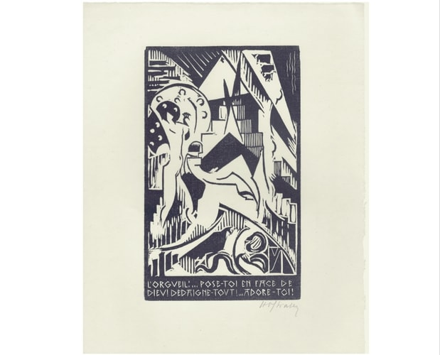 Linocut from the Temptation of St Anthony by Henri Van Straten