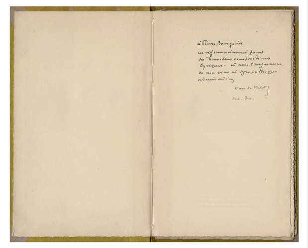 signed inscription by Henry van de Velde on his book Le Nouveau published in 1929