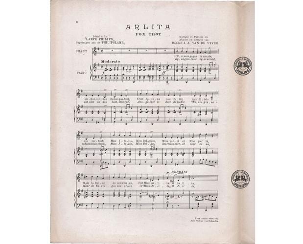 detail of music sheet arlita illustrated by Marcel-Louis Baugniet