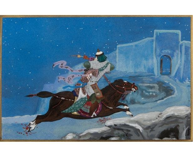 pochoir illustration from Princesse Nenekedjan by Marina Romanov
