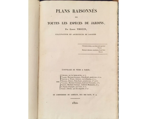 title-page of Thouin Plan raisonnés