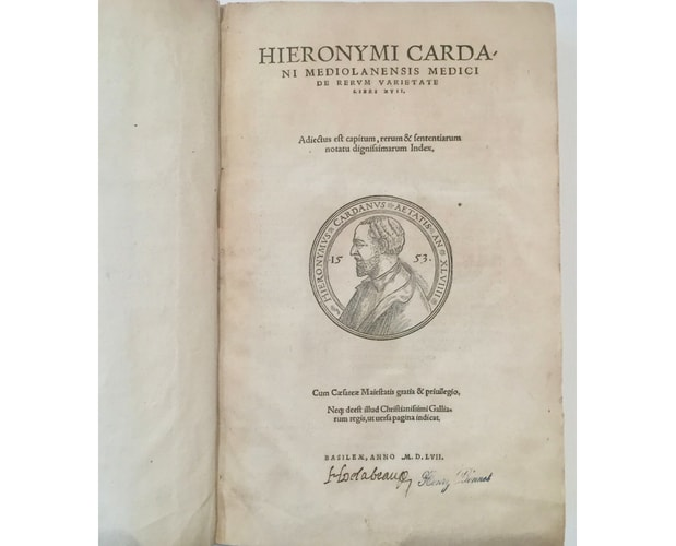 title-page of De Rerum Varietate by Cardano