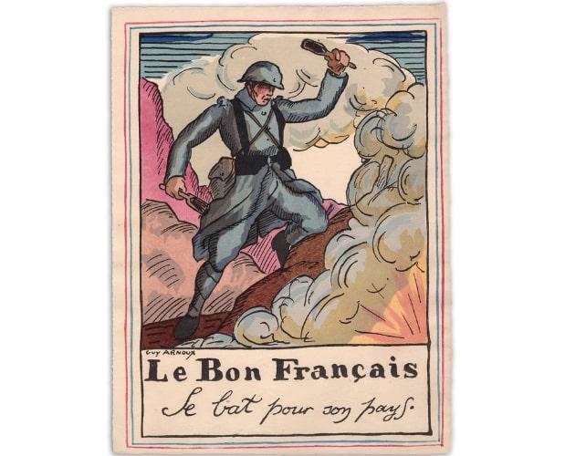 planche au pochoir de Guy Arnoux pour Le Bon Français