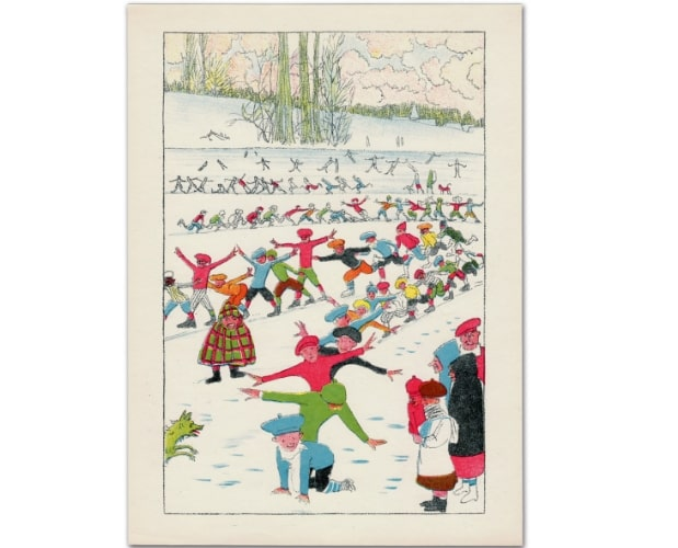 original lithographed plate by Spilliaert for Les Plaisirs d'hiver