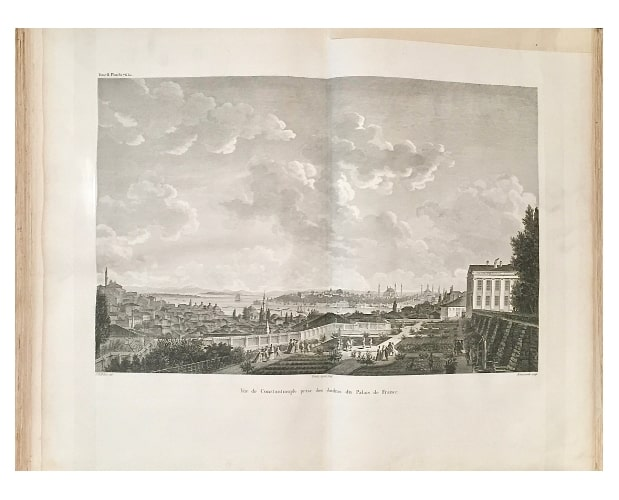 double page vieuw of Constantinople from Choiseul-Gouffier Voyage pittoresque