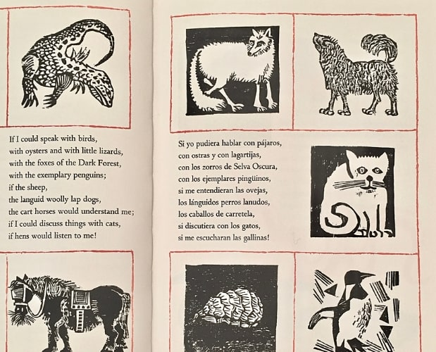 double page of Bestiary by Frasconi