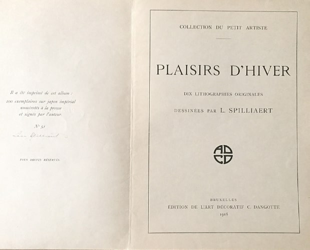 title-page and signed colophon of Les Plaisirs d'hiver by Spilliaert