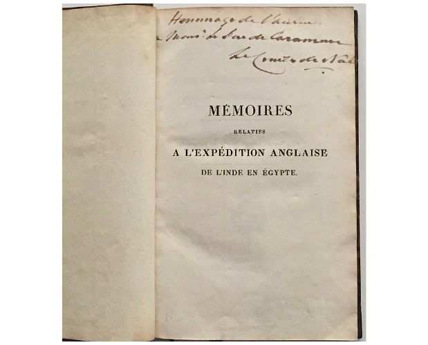 half-title of Noe Memoires with inscription