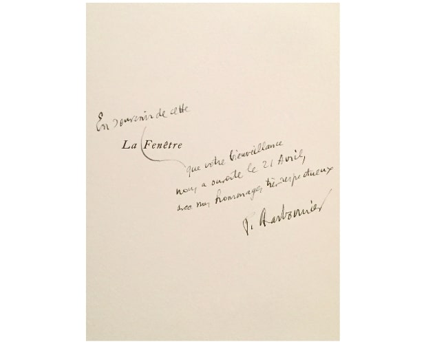 inscription by pierre charbonnier to president pompidou