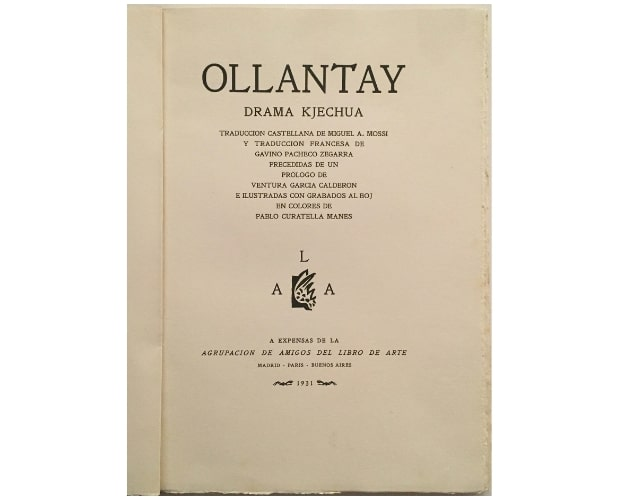 title-page of Ollantay by Pablo Curatella Manes