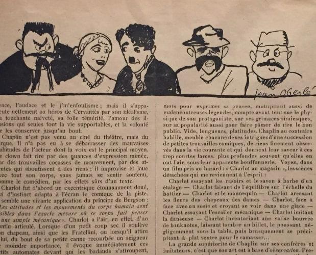 illustration of Charlot in le crapouillot parle du cinema