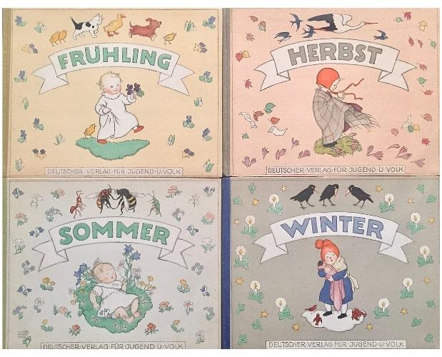Covers of Ida Bohatta-Morpurgo for her 4 children's books on the Seasons