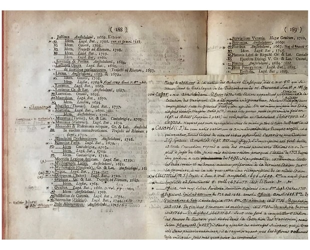 Page with manuscript notes in Crevenna Catalogue