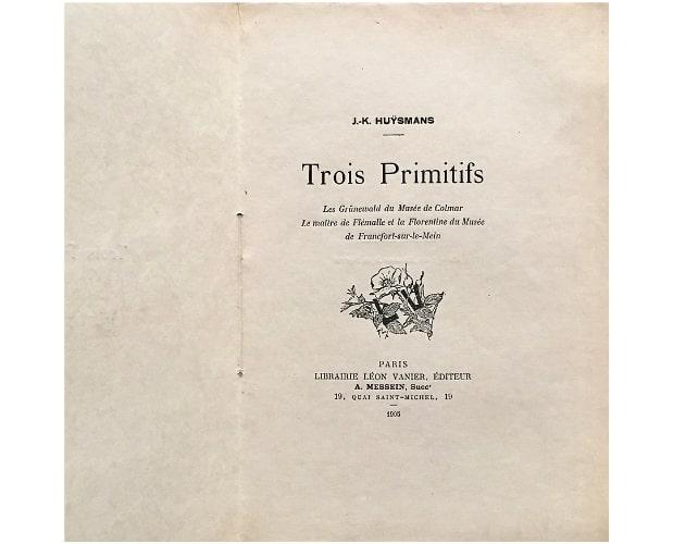 Title-page of Huysmans trois Primitifs