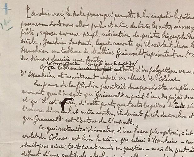 Manuscript page by Huysmans for Trois Primitifs