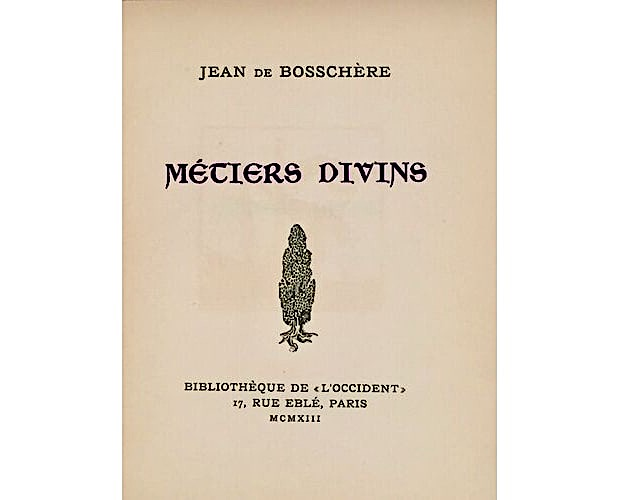 title-page of Jean de Boschère Métiers divins