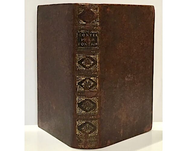 binding of first illustrated edition of La Fontaine Contes