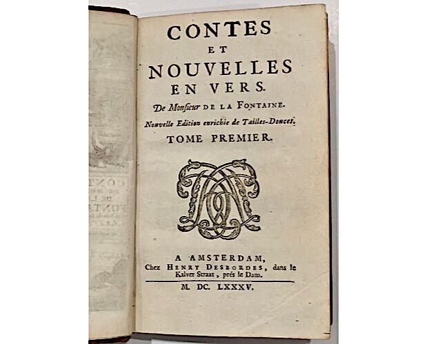 title-page of first illustrated edition of La Fontaine Contes