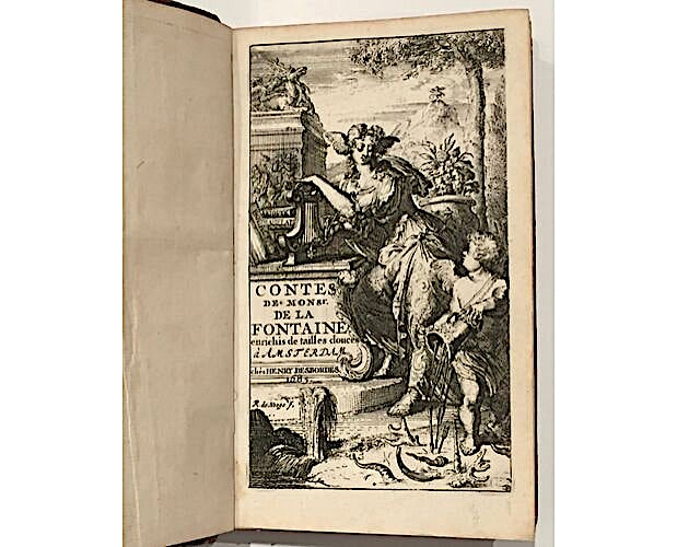 frontispiece by Romeyn de Hooghe in first illustrated edition of La Fontaine Contes