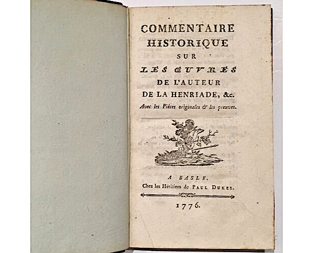 title-page of first edition of Voltaire Commentaire historique