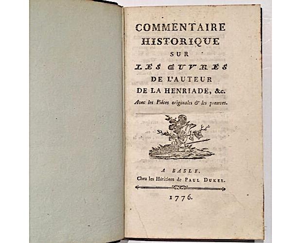 page de titre édition originale de Voltaire Commentaire historique