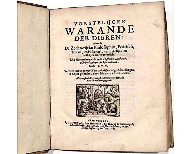 title-page of Vondel Warande der dieren