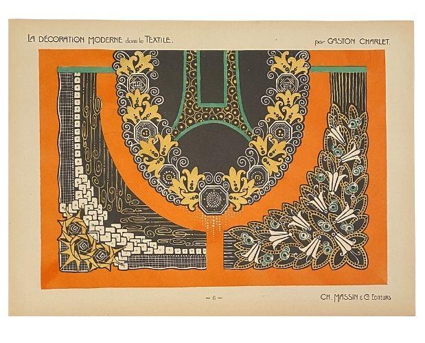 pochoir of Charlet textile