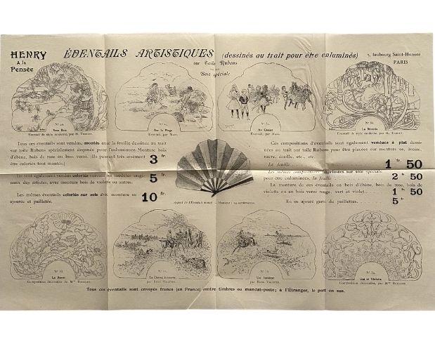 Trade catalogue of hand fans by Henry à la pensée