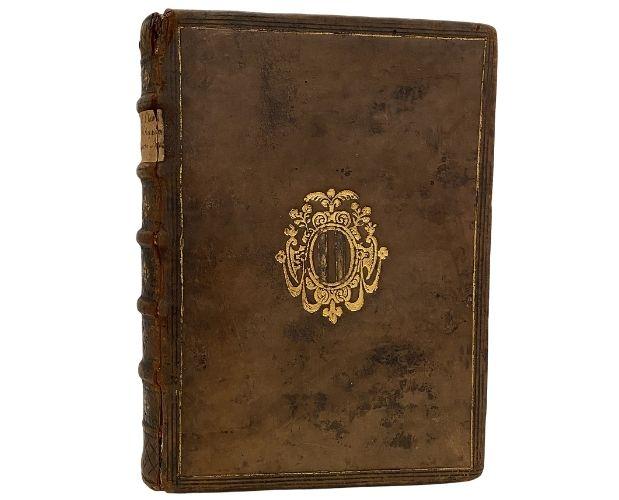 Armorial binding of Clavius Sphaeram Ioannis de Sacro Bosco commentaries