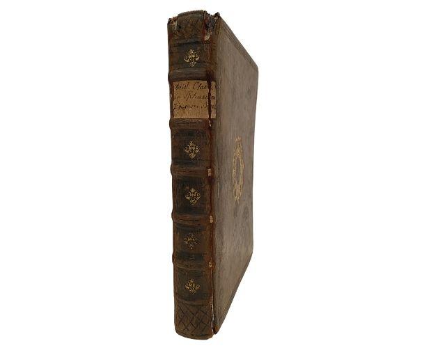 Spine of armorial binding of Clavius Sphaeram Ioannis de Sacro Bosco commentaries