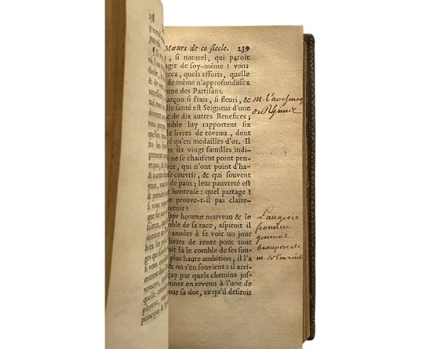 Annotated page of text of La Bruyère Caractères